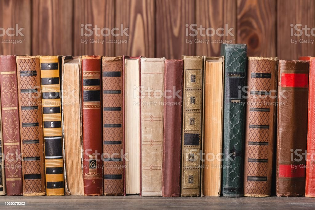 Bookshelf bookcase library aged book brown cardboard