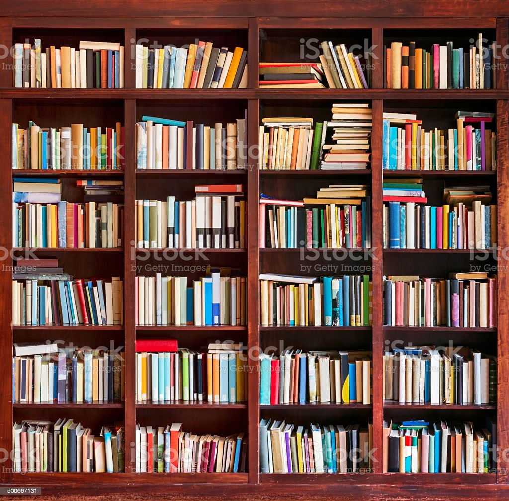 Bookshelf stock photo