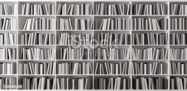 Bookshelf with books 3d render 3d illustration