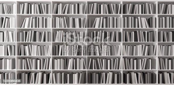 istock Bookshelf with books 3d render 1035986006