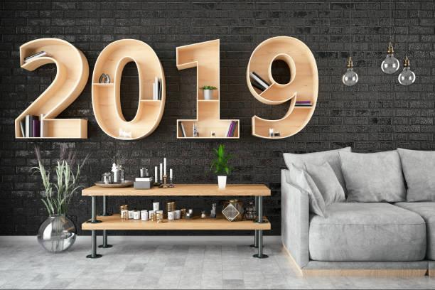 2019 bücherregal mit gemütlichen innenraum - sofabezüge stock-fotos und bilder