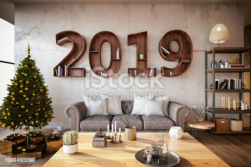 Creative Bookshelf design. New Year Concept