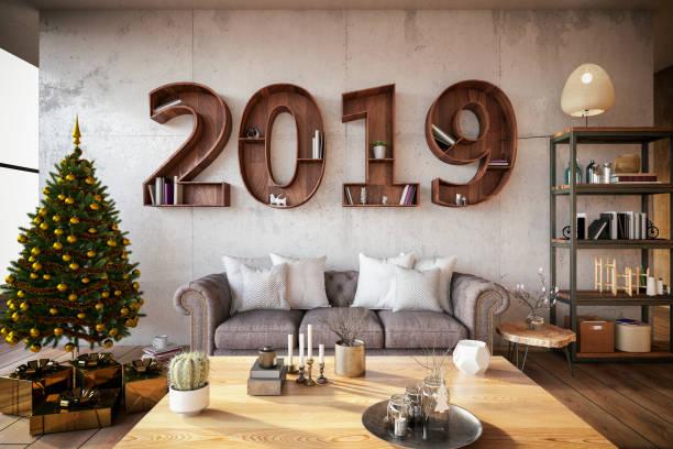 2019 bücherregal mit gemütlichen innenraum - ideen für silvester stock-fotos und bilder