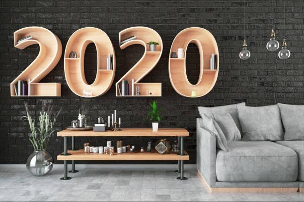 2020 bookshelf mit gemütlichem interieur - 2020 stock-fotos und bilder