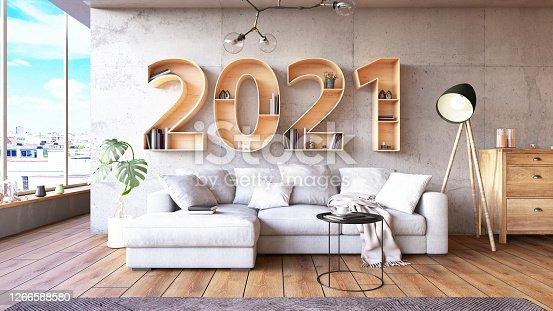 2021 BookShelf with Cozy Interior. 3d Render