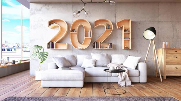 2021 BookShelf with Cozy Interior stock photo