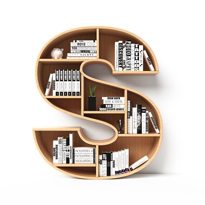 Bookshelves 3d font. Alphabet in the form of book shelves. Mockup font. Letter S