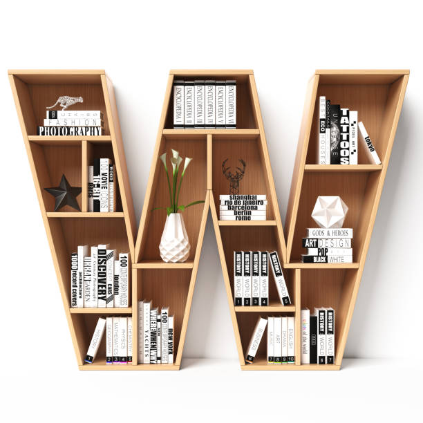 Bookshelves 3d font. Alphabet in the form of book shelves. Mockup font. Letter W Bookshelves 3d font. Alphabet in the form of book shelves. Mockup font. Letter W 3d rendering letter w stock pictures, royalty-free photos & images