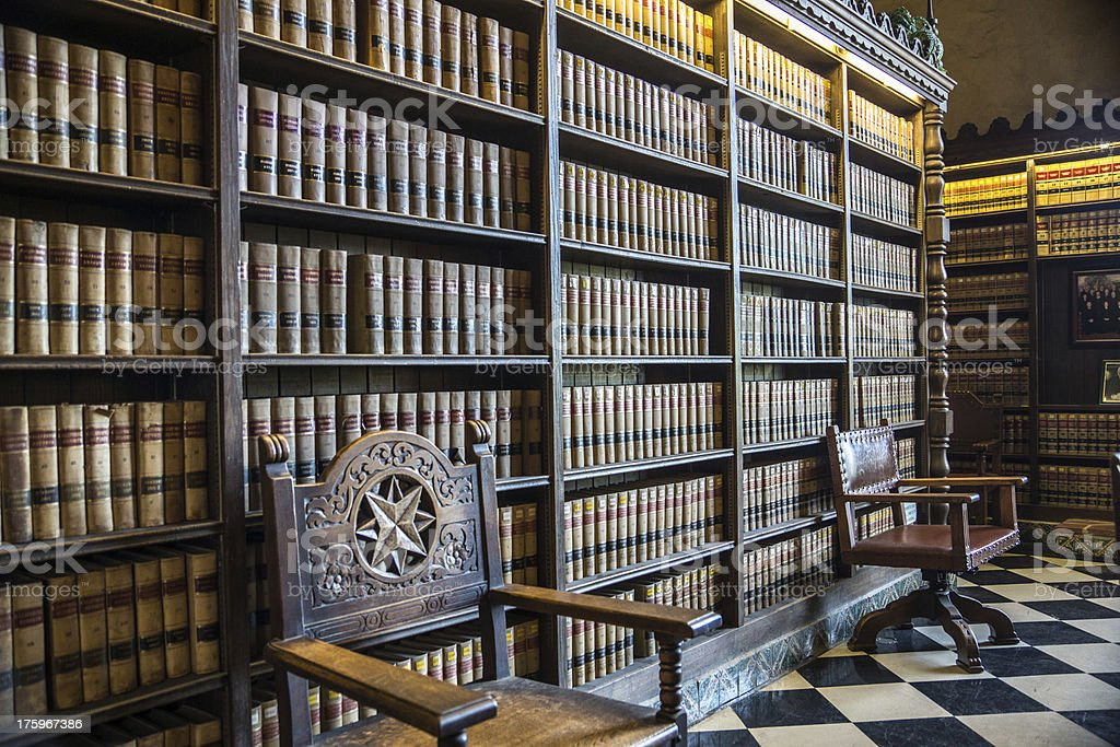 Bookshelves At A Law Library Royalty Free Stock Photo