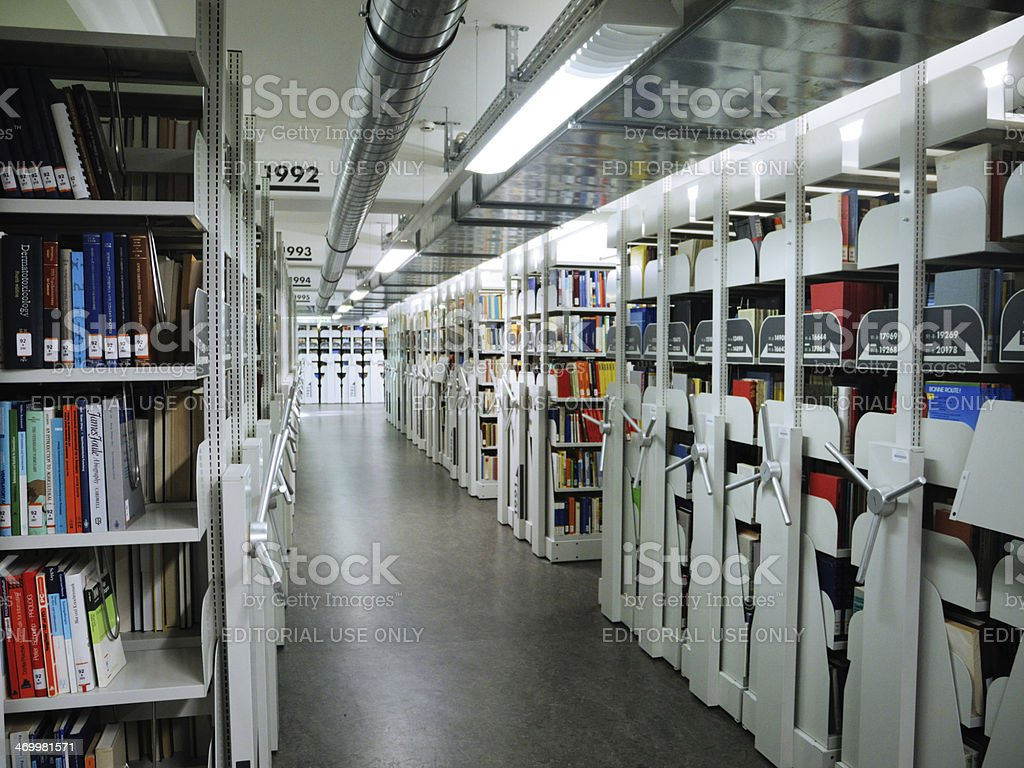 Bookshelves At Basement Of Albertina Library In Leipzig Stock Photo Download Image Now Istock