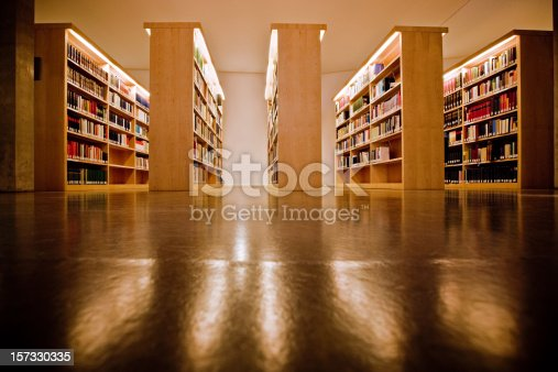 istock Bookshelves at the library 157330335