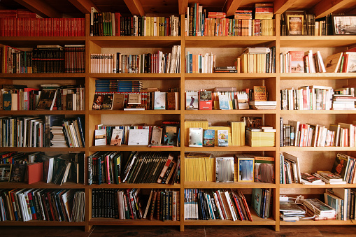 Wooden bookshelves in a library
