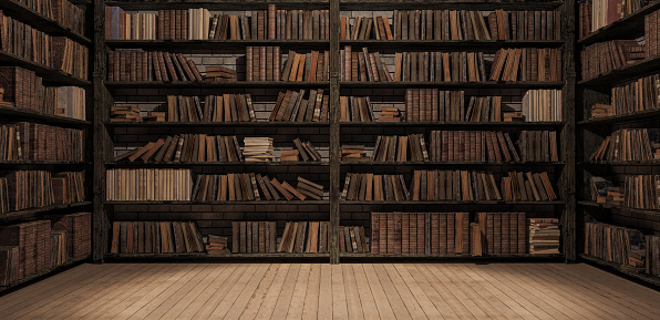 istock Bookshelves in the library with old books 3d render 1082069478