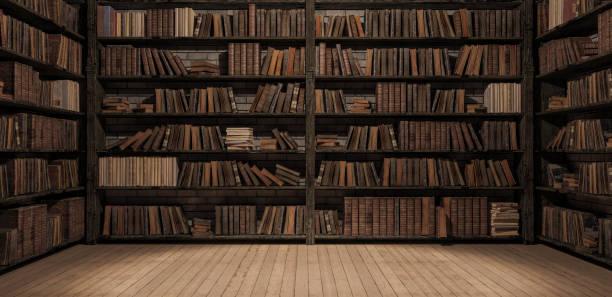 estantes en la biblioteca con libros viejos 3d render - biblioteca fotografías e imágenes de stock