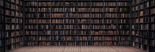 estanterías en la biblioteca con libros antiguos 3d render - biblioteca fotografías e imágenes de stock