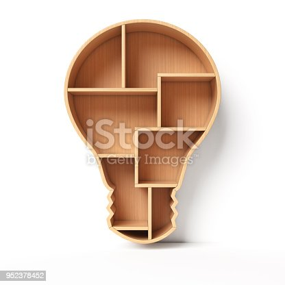 istock Bookshelves in the shape of light bulb, new idea book shelf concept 952378452