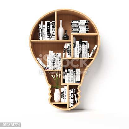 istock Bookshelves in the shape of light bulb, new idea book shelf concept 952378774