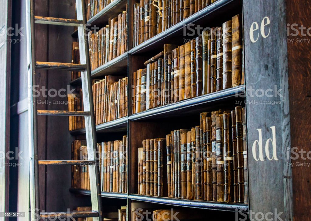 Bookshelves of an old library stock photo