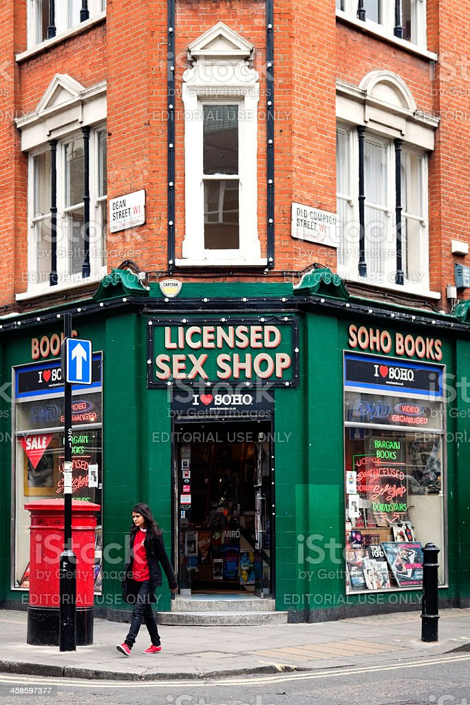 Bookstore and licensed sex shop in Soho, London royalty-free stock photo