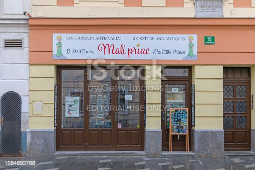 Ljubljana, Slovenia - November 4, 2019: Bookstore and Antiques The Little Prince in Ljubljana, Slovenia.