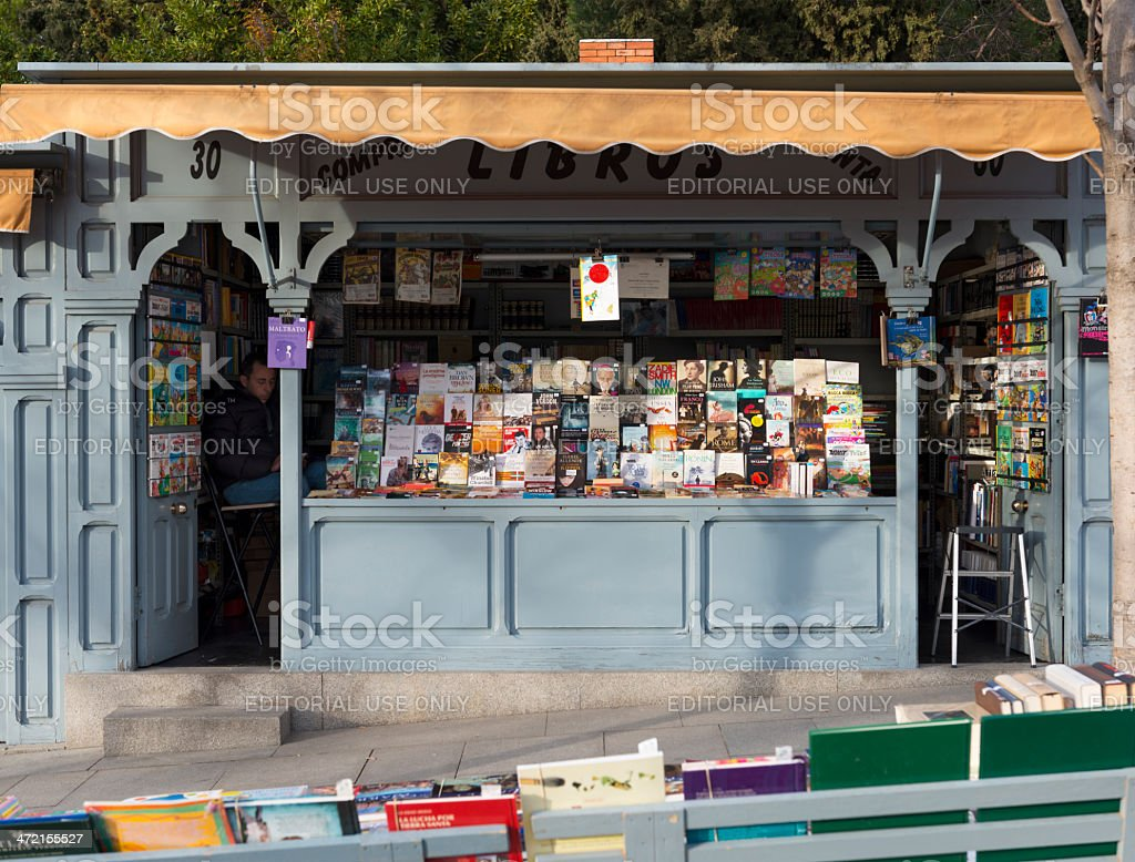 Bookstore display in Cuesta Moyano in Madrid stock photo