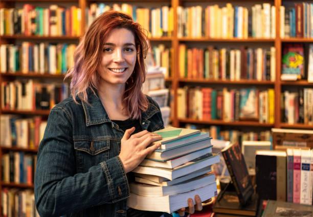 Bookstore employee stock photo
