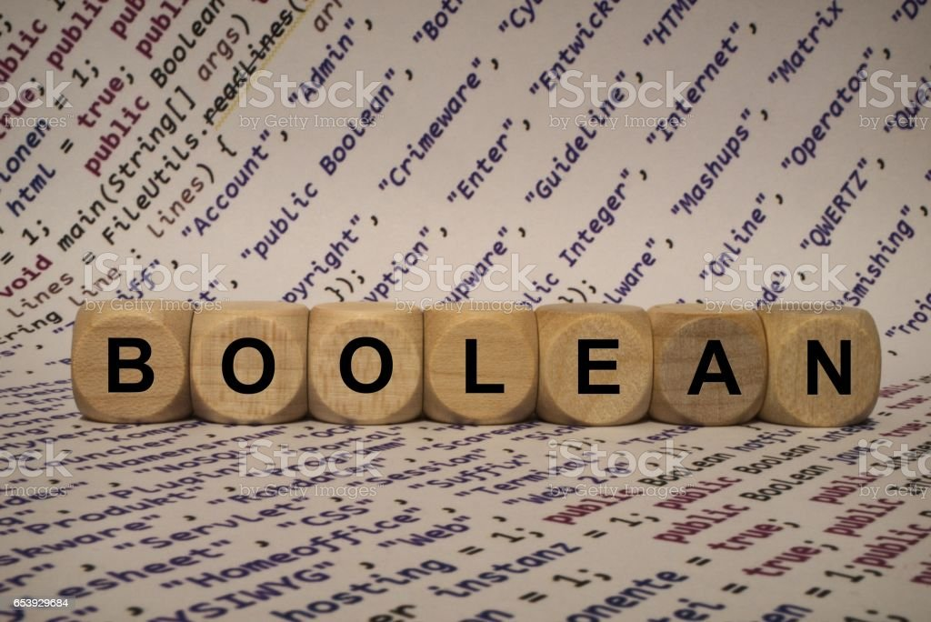 boolean - cube with letters and words from the computer, software, internet categories, wooden cubes stock photo