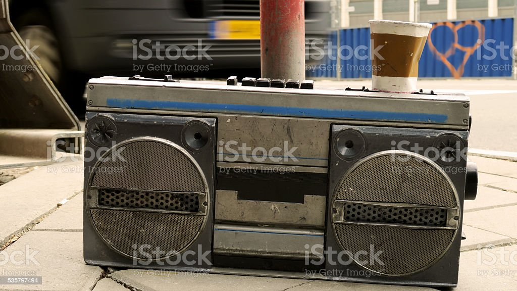 boom box cassette tape player on street stock photo