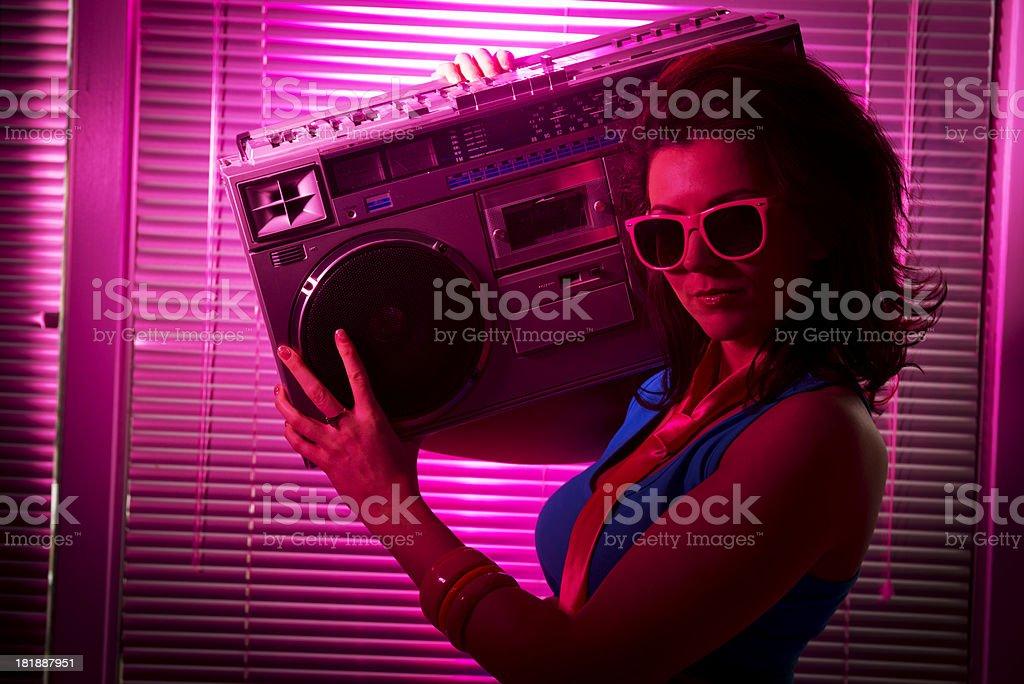 Boom Box Woman stock photo