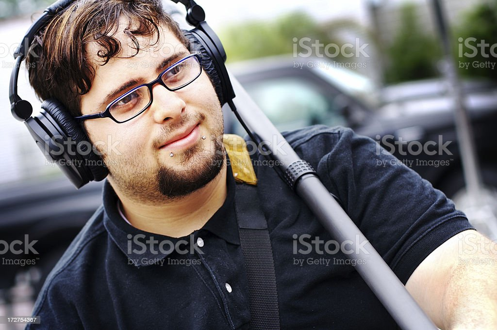 Boom Operator/Sound Man stock photo