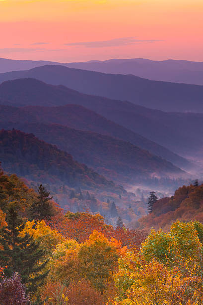 Boom view of magnificent autumn mountain sunrise Sunrise over Appalachian Mountains in Autumn   appalachia stock pictures, royalty-free photos & images