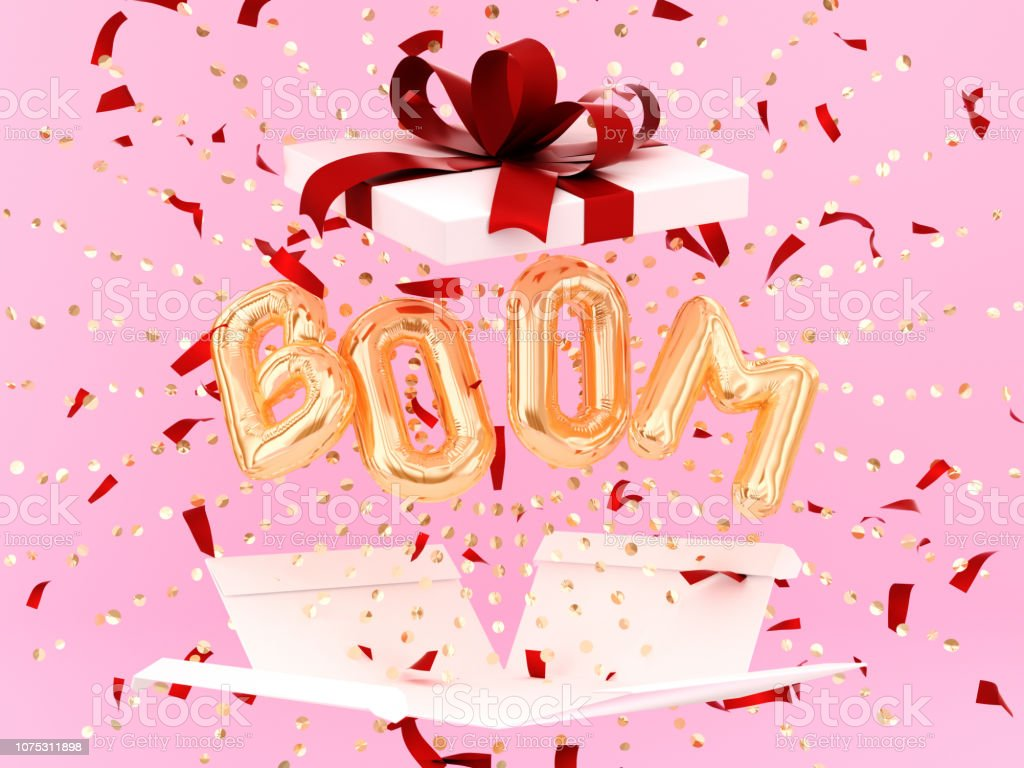 Boom word letters golden burst confetti and gift box, stock photo