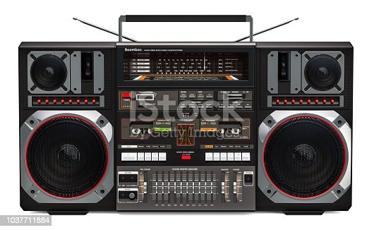 istock Boombox, 3D rendering isolated on white background 1037711884