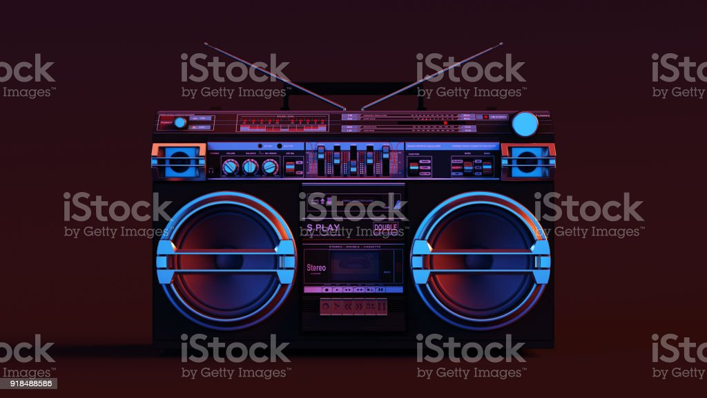 Boombox Moody 80s lighting stock photo