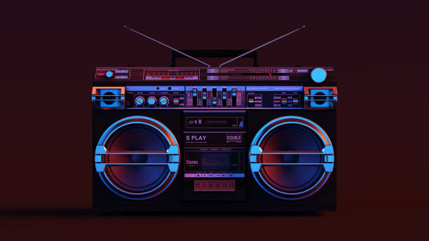 boombox moody 80s lighting - 1980s style stock photos and pictures