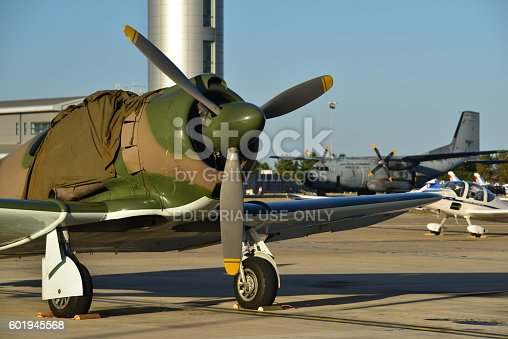 Jersey, U.K. - September 8, 2016: The vintage CAC Boomerang an Austalian aircraft used in WW2, stationary at Jersey Airport for the airchow 2016.