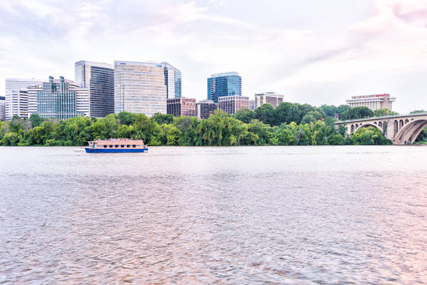 Boomerang Yacht cruise toar boat on Potomac river with skyline of Arlington, Virginia stock photo