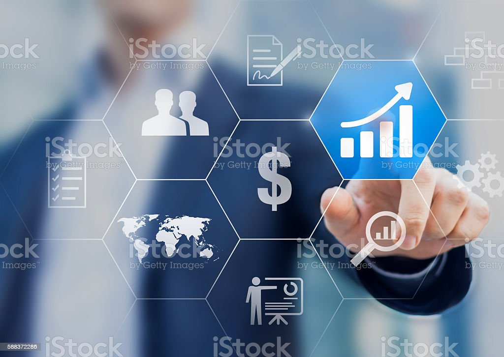 Boost your business concept. Successful businessman choosing to increase profit stock photo