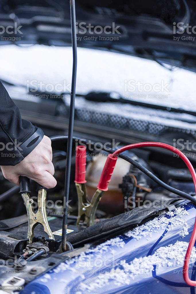 Booster cables stock photo