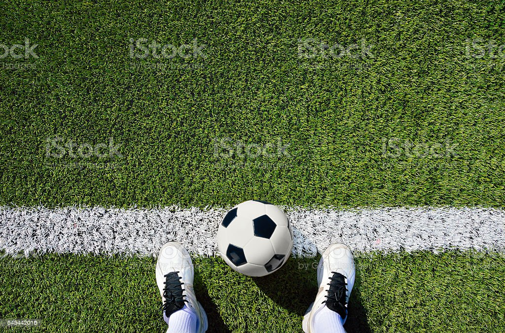 boot and ball soccer stock photo
