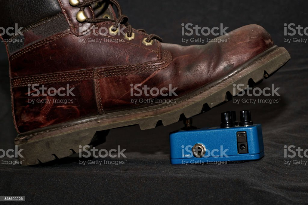 Boot and mini pedal stock photo
