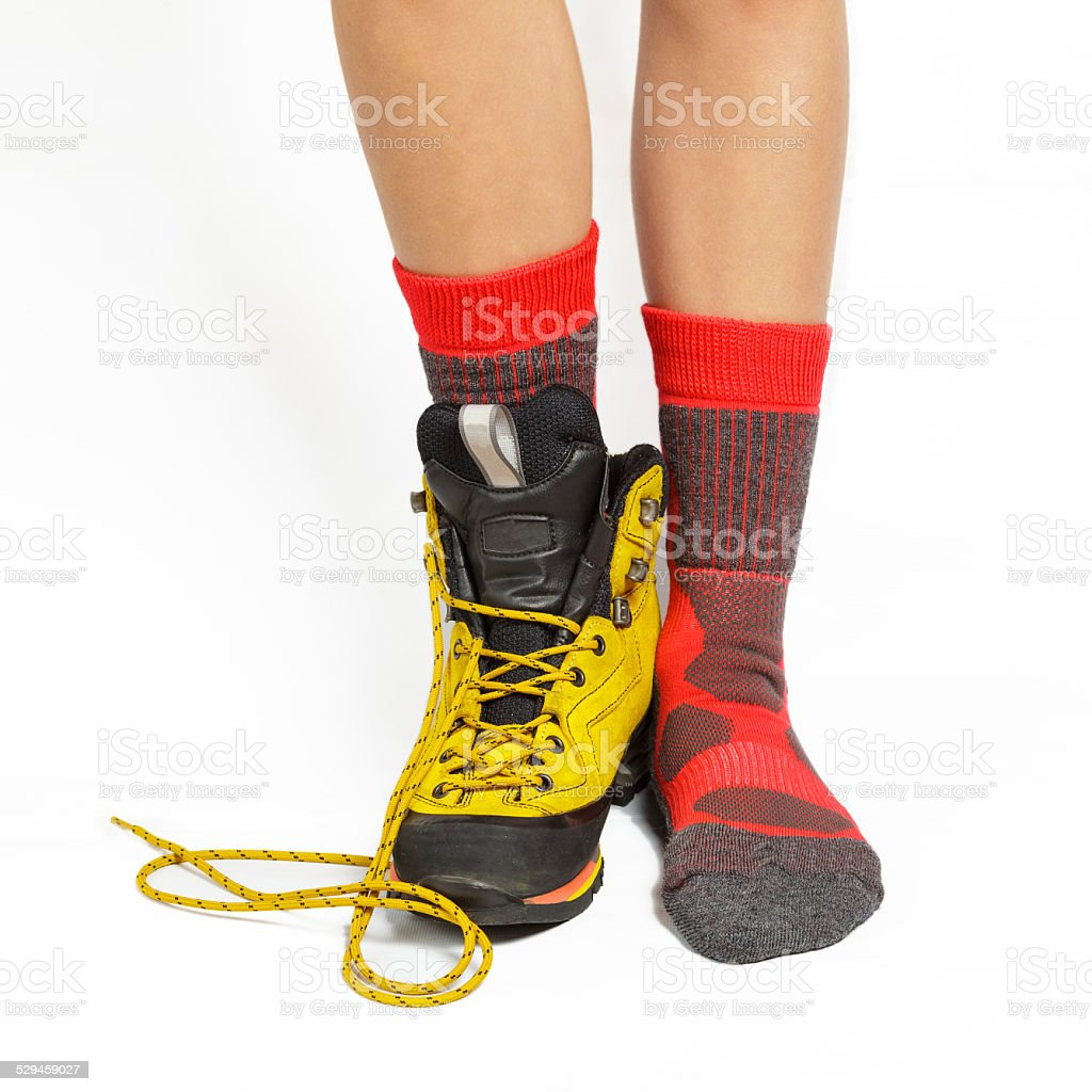 Boot and socks stock photo