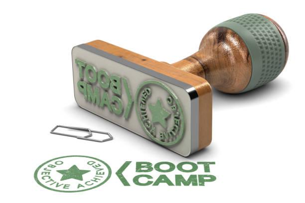Boot-Camp-Konzept. Ziel erreicht Zertifikat over White Background – Foto