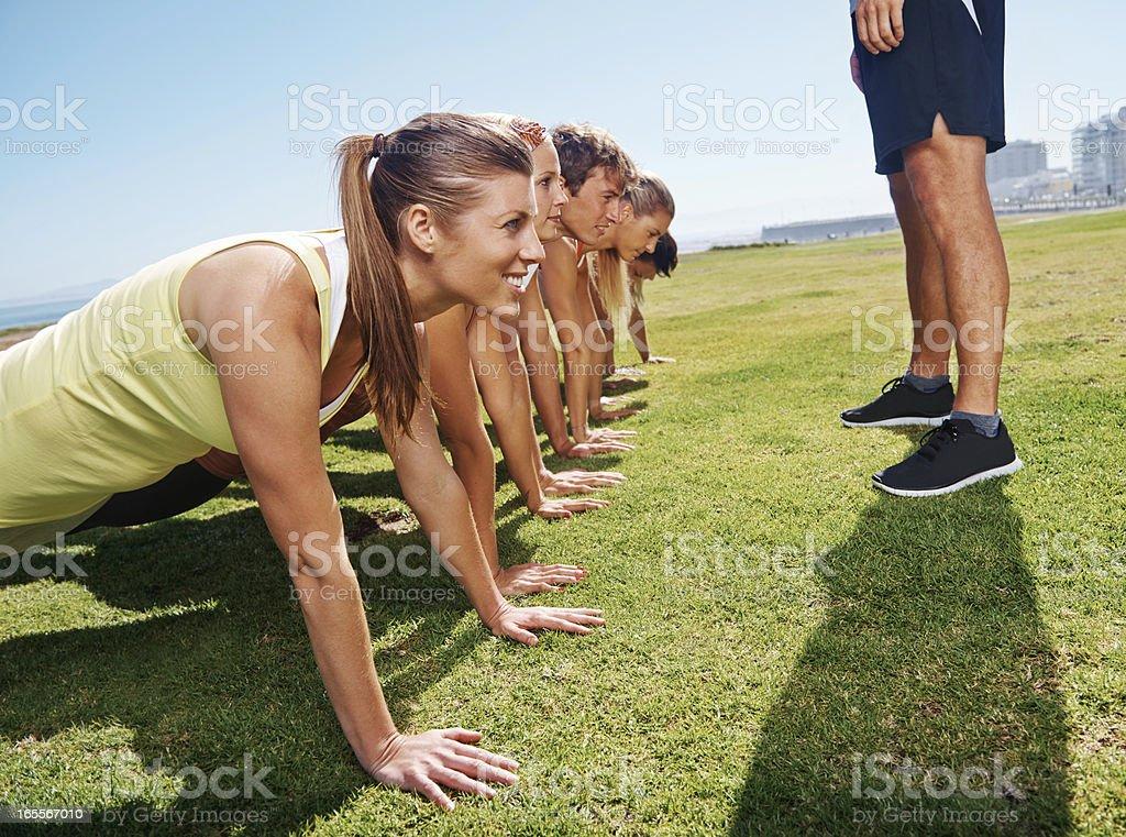 Boot camp pressure pushups royalty-free stock photo