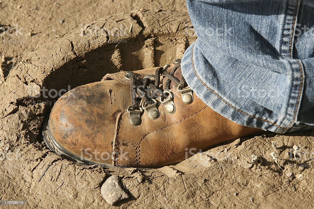Boot in Mud royalty-free stock photo
