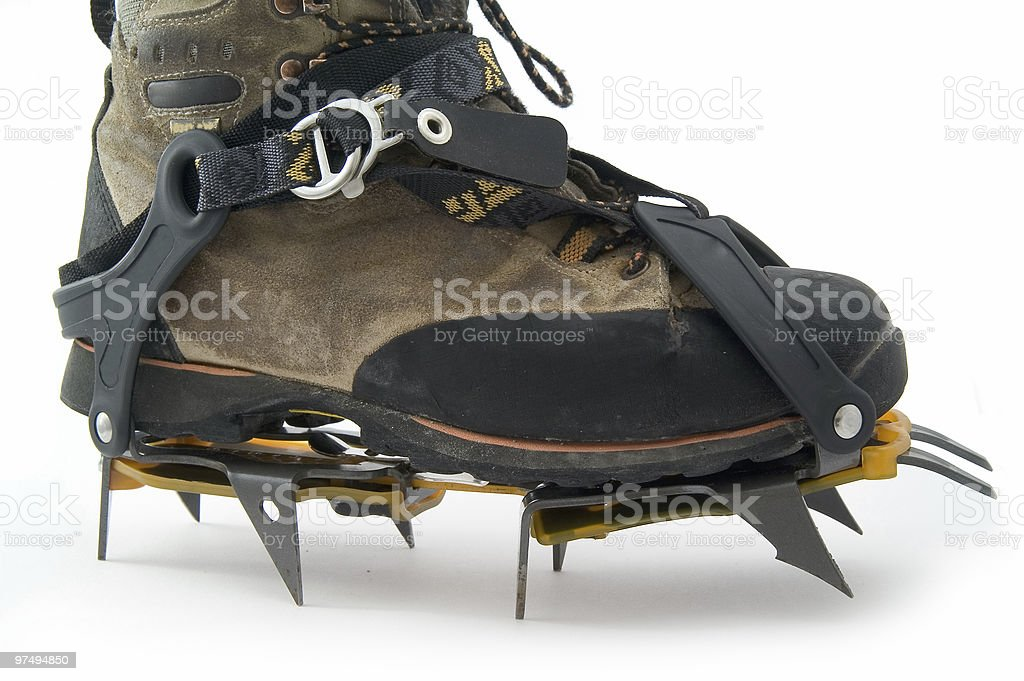 Boot with crampons. royalty-free stock photo