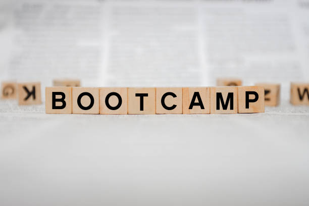 Bootcamp Word Written In Wooden Cube stock photo