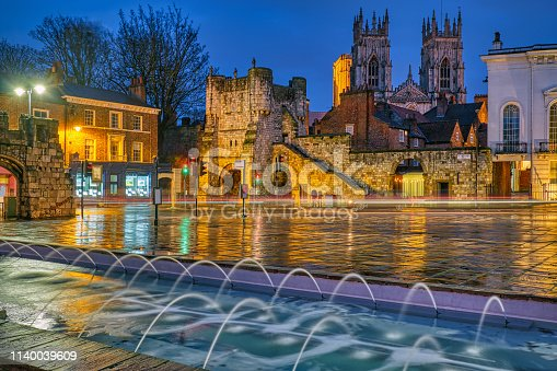 Bootham Bar and the famous York Minster at night
