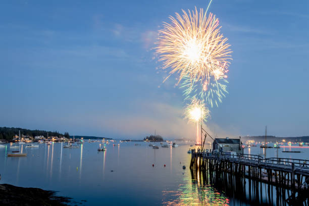 Boothbay Harbor Fireworks on Independence Day stock photo