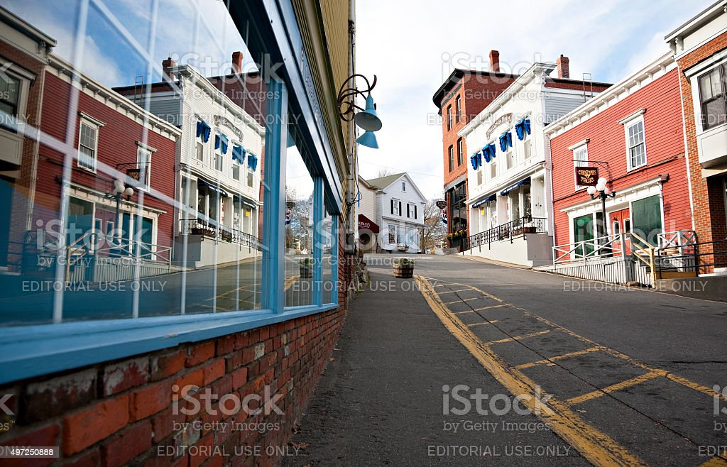 Boothbay Harbor historic downtown, Maine stock photo